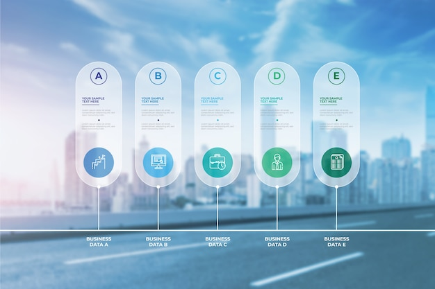 Infografía empresarial moderna con foto