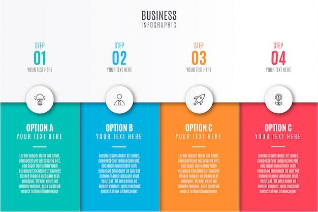 Infografía empresarial moderna con iconos