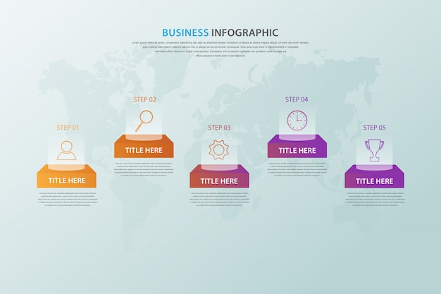 Infografía empresarial moderna con opción de 5 pasos