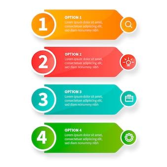 Infografía empresarial moderna pasos con iconos de negocios