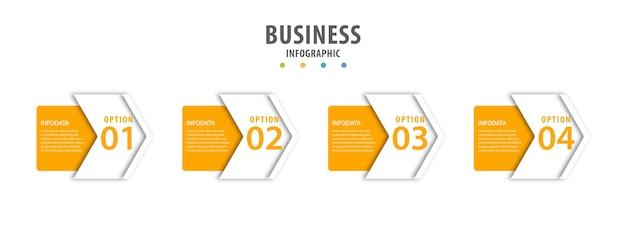Infografía empresarial con pasos.