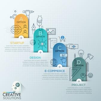 Infografía empresarial polígono estilo origami