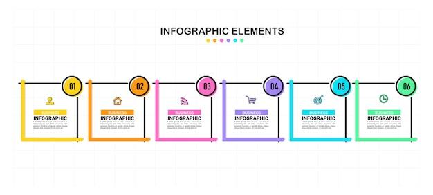 Infografía empresarial de seis pasos.