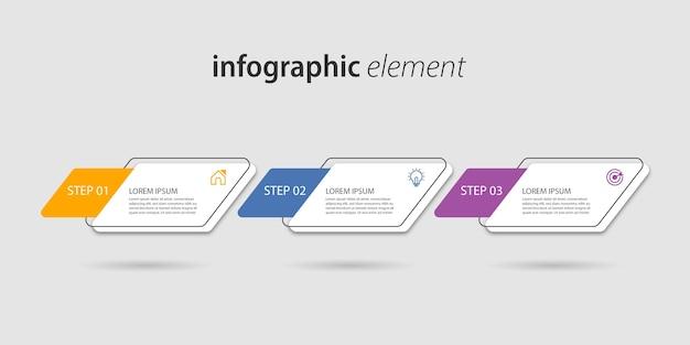 Infografía empresarial con tres opciones.