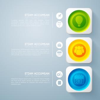 Infografía empresarial con tres pasos.