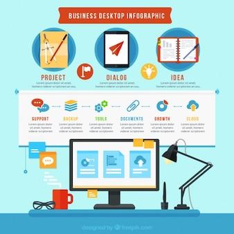 Infografía de escritorio de negocios