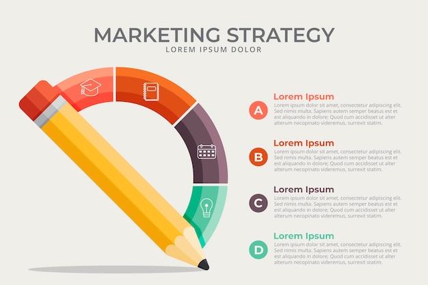 Infografía de escuela de diseño plano con estrategia de marketing.
