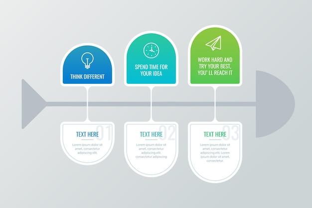 Infografía de espina de pescado en diseño plano