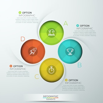Infografía espiral moderna con cuatro opciones