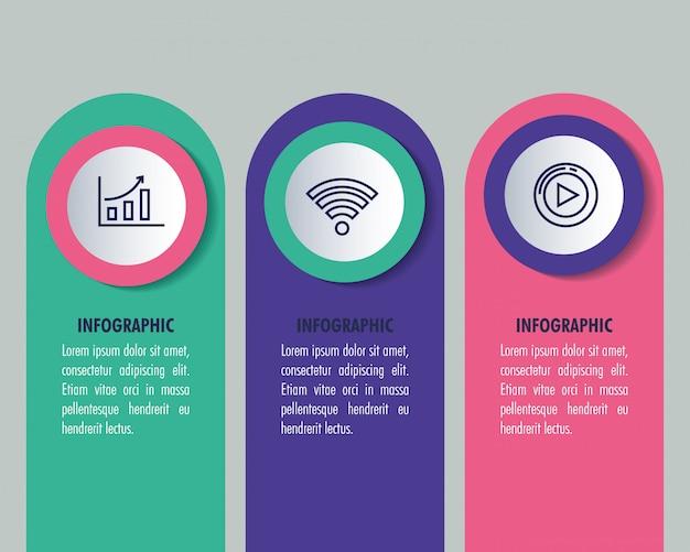 Infografía estadística con iconos de negocios