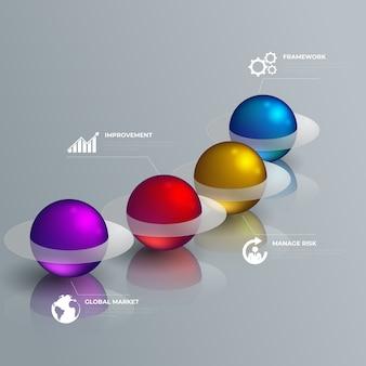 Infografía de estilo brillante 3d