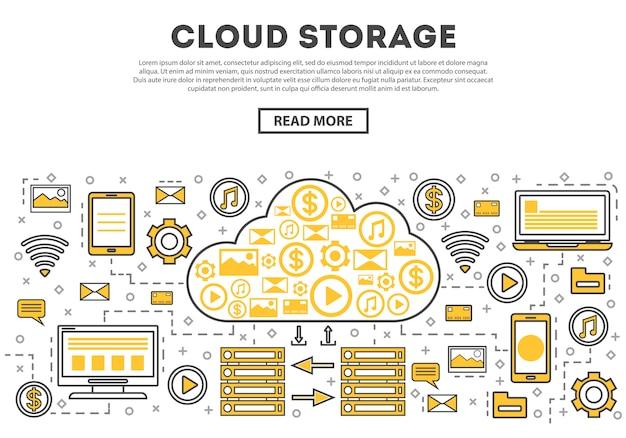 Infografía de estilo lineal de almacenamiento global en la nube