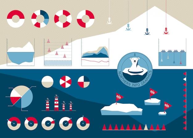 Infografía en el estilo del norte con icebergs.