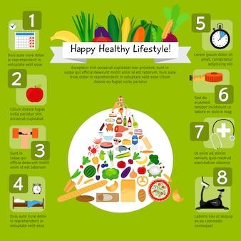 Infografía de estilo de vida feliz con alimentos saludables