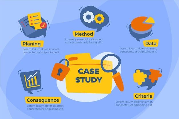 Infografía de estudio de caso plano dibujado a mano