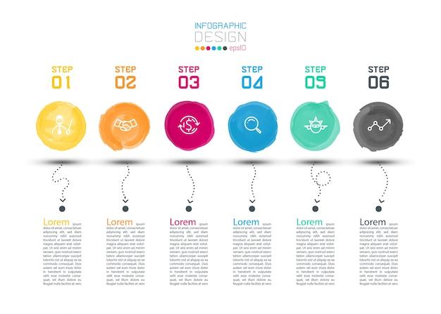 Infografía de etiqueta acuarela moderna en arte vectorial.