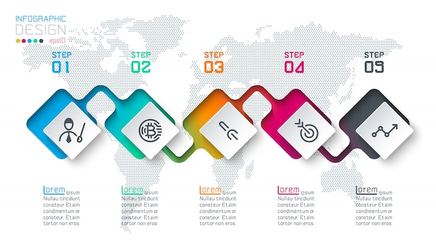 Infografía de etiqueta cuadrada con 5 pasos.