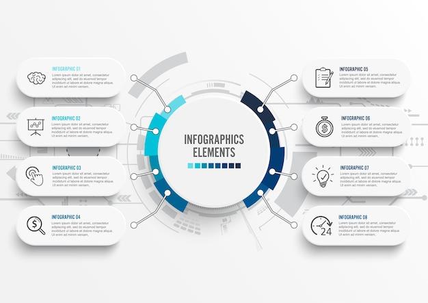 Infografía con etiqueta de papel. negocio con 8 opciones.