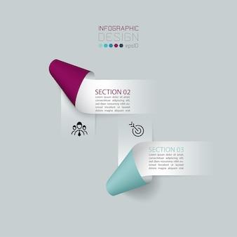 Infografía etiquetas de cinta de papel, procesos de opciones de infografía.