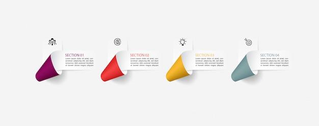 Infografía con etiquetas de cinta de papel