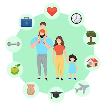 Infografía familiar. conjunto de iconos de familia exitosa.