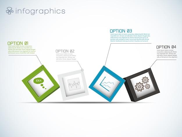 Infografía con fila de cubos e iconos de gráficos y engranajes