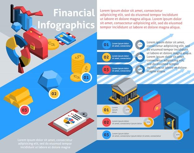 Infografía financiera isométrica