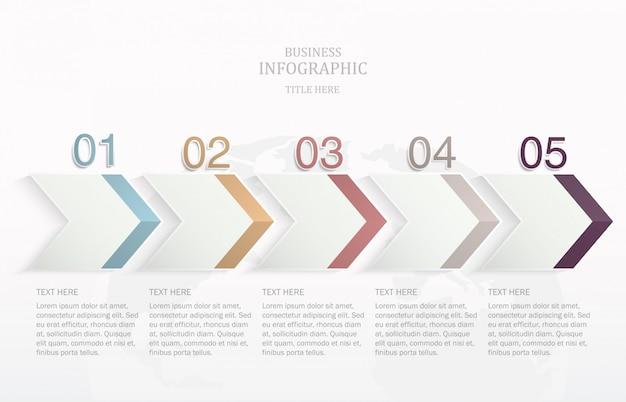 Infografía de flecha con 5 opciones o pasos.