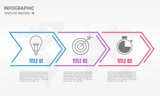 Infografía flecha delgada línea 3 opciones.