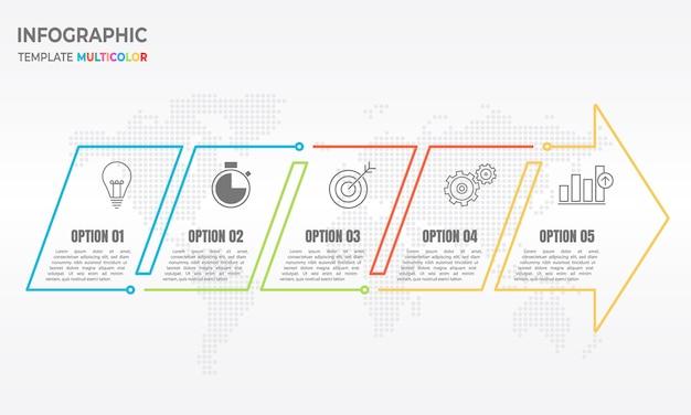 Infografía flecha delgada línea 5 opciones.