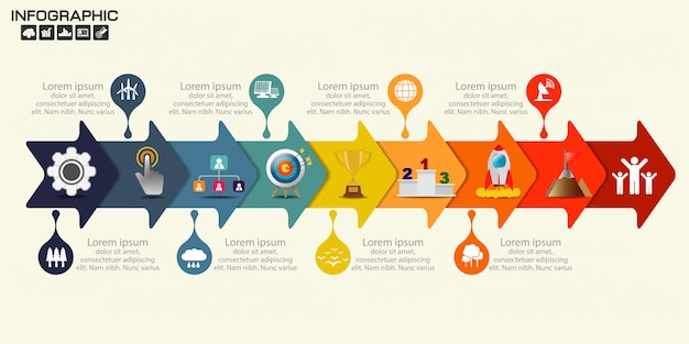 Infografía flecha diseño plantilla nueve pasos