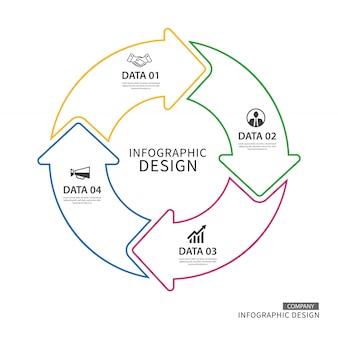 Infografía de flechas de círculo de línea delgada de negocios con 4 datos