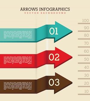 Infografía de flechas sobre fondo beige ilustración vectorial