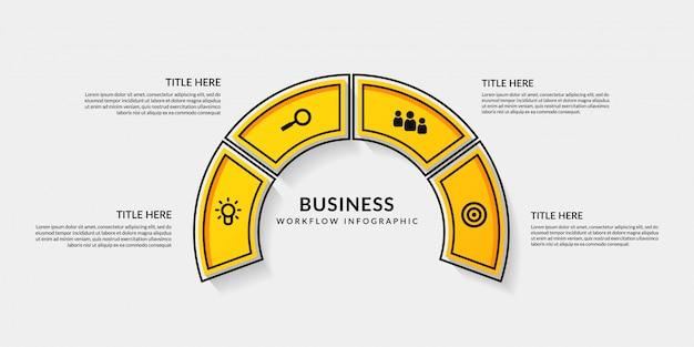Infografía de flujo de trabajo con cuatro opcionales