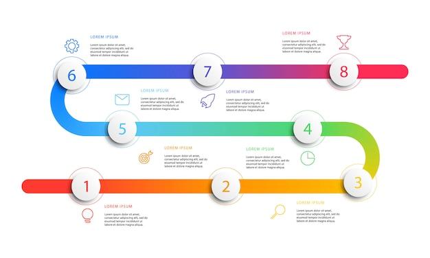 Infografía de flujo de trabajo de línea de tiempo de negocios con elementos redondos 3d realistas.