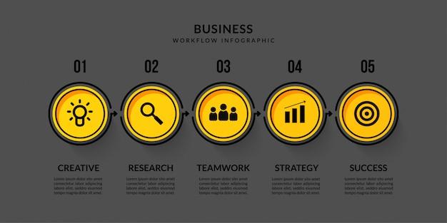 Infografía de flujo de trabajo oscuro con cinco opciones, esquema de comunicación de datos comerciales para informe