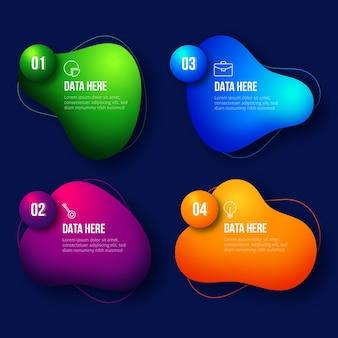 Infografía con formas abstractas gradientes