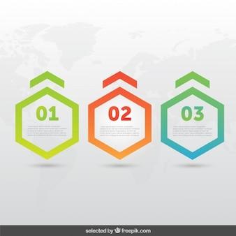 Infografía de formas hexagonales