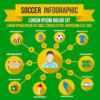 Infografía de fútbol en estilo plano para cualquier diseño.