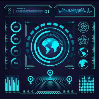 Infografía futurista azul neón