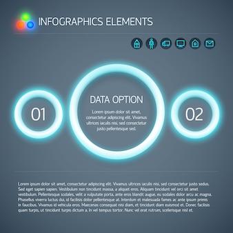 Infografía geométrica digital abstracta con círculos brillantes de neón azul, texto e iconos de dos opciones, ilustración vectorial aislada