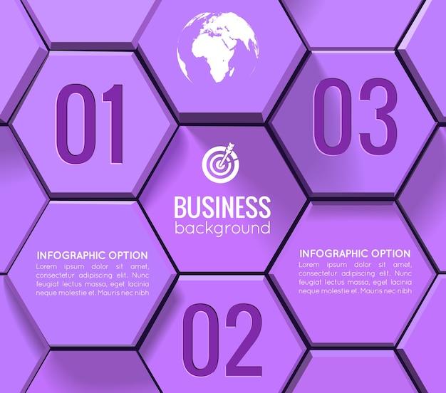 Infografía geométrica empresarial con números de texto de hexágonos morados 3d e iconos blancos en estilo mosaico