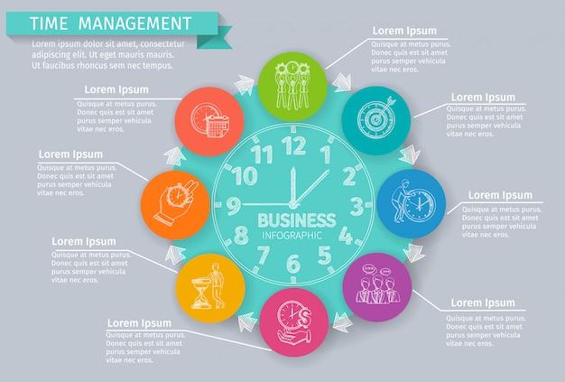 Infografía de gestión de tiempo con símbolos de negocios de bosquejo