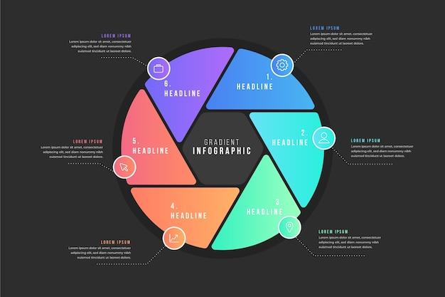 Infografía gradiente con iconos