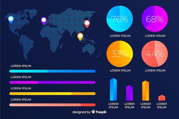 Infografía de gradiente de mapa mundial con porcentajes