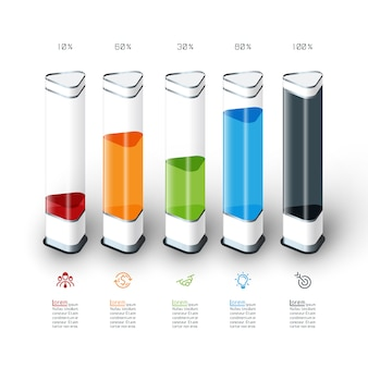 Infografía del gráfico de barras con la pieza 3d colorida.