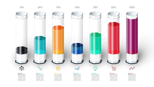 Infografía del gráfico de barras con el tubo de cristal colorido 3d.
