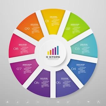 Infografía de gráfico de ciclo para presentación de datos.
