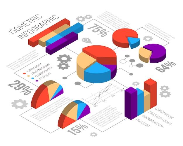 Infografía de gráfico circular isométrica