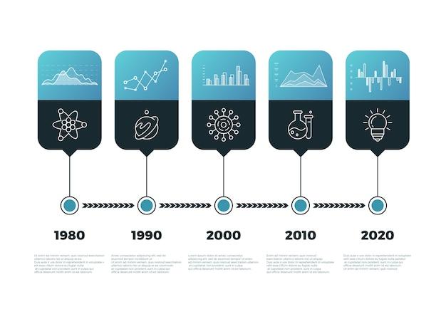 Infografía de gráfico de línea de tiempo con banners vector plantilla